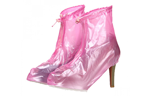 Plastic Zip Up Hi Heels Shoe Cover For Women - Pink