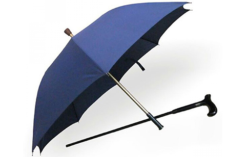 Multifunction Umbrella With Detachable Wooden Cane - Blue