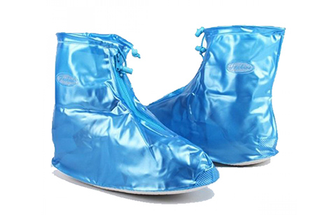Plastic Zip Up Water Proof Rain Boots Shoe - Blue