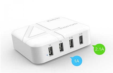 YOOBAO YB-701 4 Port USB Rapid Universal Charger Adapter - White